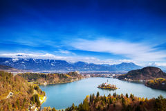 Amazing Bled Lake, Slovenia, Europe. Amazing View On Bled Lake. Autumn or Winter in Slovenia, Europe. Top view on Island with Catholic Church in Bled Lake with Royalty Free Stock Photos