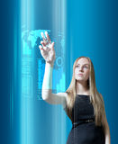Amazing blonde with interface in the future stock photo