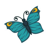 Amazing blue butterfly with yellow pattern and curled antennae. Amazing blue tropical butterfly with yellow circles on wings and curled antennae isolated cartoon royalty free illustration