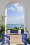 Amazing blue fence and arcade of sidi bou said. View over the sea, window to the mediterranean Royalty Free Stock Image