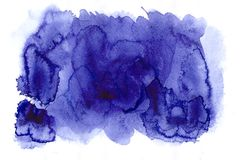Amazing blue formless watercolor abstract spot. Painted blots wi. Blue abstract watercolor stain isolated on white paper. Artistic illustration of blots, smudges royalty free illustration