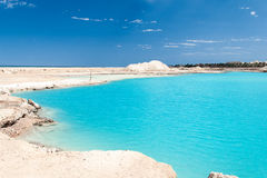 Amazing Blue lake among the sand Royalty Free Stock Image
