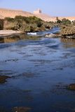 Amazing blue nile with two small boats in focus Royalty Free Stock Images