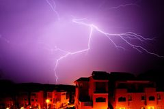 Amazing bolt of lightening at night in Spain royalty free stock photos