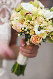 Amazing bouquet of callas and pink roses Stock Photo