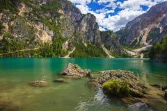Amazing Braies Lake Royalty Free Stock Photos