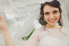 Amazing brunette bride smiles broad holding her veil up stock photos