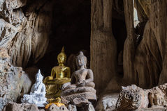 Amazing buddha statues in beautiful cave, holy natural buddhist sanctuary in Thailand Stock Photo