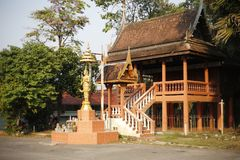 Buddhist architecture of Trat Thailand. Amazing Buddhist architecture in touristic Trat in Thailand. Religius symbols of south east Asia Stock Photography