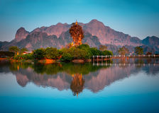 Amazing Buddhist Kyauk Kalap Pagoda in Hpa-An, Myanmar Royalty Free Stock Photos