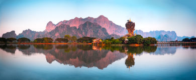 Amazing Buddhist Pagoda In Hpa-An, Myanmar Stock Image