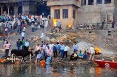 The burning ghat in Varanasi, India. The amazing burning ghat in Varanasi, India royalty free stock image