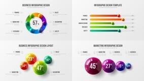 Amazing business data horizontal bar chart design layout. Colorful 3D balls corporate statistics infographic elements set. royalty free illustration