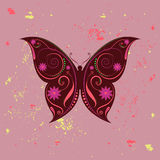 Amazing butterfly. Beautiful designed colorful butterfly with swirls and flowers theme Stock Images
