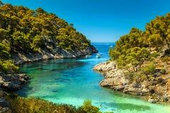 Amazing Calanques De Port Pin im Cassis, nahe Marseille, Frankreich lizenzfreies stockbild