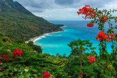 Amazing caribbean view. Dominican Republic. Amazing caribbean view from the green hill to azure sea. Travel concept. Dominican Republic royalty free stock photo