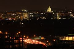 Amazing cars Light with the Capitol of United States. Always to shot at night with the city lights. Great view of it from Royalty Free Stock Photos