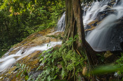 Amazing cascading tropical waterfall. wet and mossy rock, surrounded by green rain forest. Beautiful in nature Kanching Waterfall located in Malaysia, wet and Stock Image