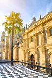 Amazing cathedral in Jerez de la Frontera in Andalusia, Spain photographed with single palm tree in a sunset light. Popular. Tourist spot. Summer vibes, summer royalty free stock photos