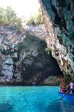 Cave Melissani, Greece stock photography