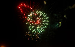 Amazing celebration multicolored sparkling fireworks. 4th of July beautiful fireworks. Royalty Free Stock Photography
