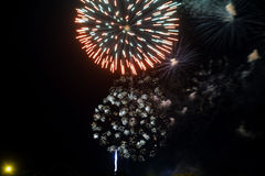 Amazing celebration multicolored sparkling fireworks. 4th of July beautiful fireworks. Independence Day, Canada Day, New Year holidays salute stock images