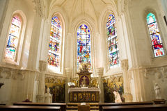 Amazing chapel with stained glasses Royalty Free Stock Photo