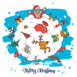 Amazing Christmas illustration. Calligraphy. Amazing Christmas illustration. The trend calligraphy. Snowball, which placed Santa, reindeer, gifts and toys Stock Photo