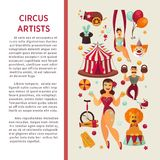 Amazing circus promo poster with participants of show and equipment. Stock Images