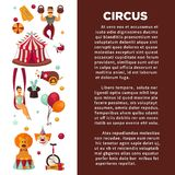 Amazing circus promo poster with participants of show and equipment. Stock Image