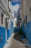 An amazing city in Morocco, Rabat, Kasbah des Oudaia, narrow streets with white blue walls. Morocco, Rabat. Kasbah des Oudaia ,narrow whiteth with blue houses Royalty Free Stock Images