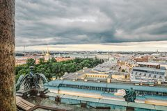 Panoramic view of St. Petersburg Palace Square, rooftops from the height of St. Isaac`s Cathedral, St. Petersburg, Russia. Amazing city Saint Petersburg Stock Photo
