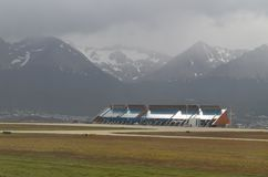 Amazing city Ushuaia in Argentina. Airport of Ushuaia - nice view from the plane royalty free stock photos