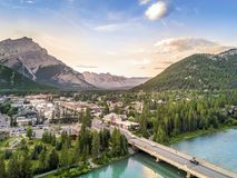 Amazing cityscape of Banff in Rocky Mountains, Alberta,Canada Royalty Free Stock Image