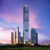Amazing cityscape of HongKong. At sunset Stock Image