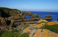 Amazing cliffs near Slains castle, Scotland Royalty Free Stock Images
