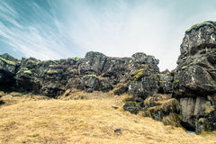 Amazing cliffs in Thingvellir national park Royalty Free Stock Photography