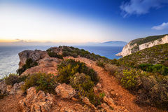 Amazing cliffs of Zakynthos Island at sunset Stock Photo