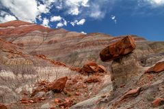 Amazing close-up if the colorful layers and rock formations of Grand Staircase-Escalante National Monument in Paria Utah stock photo