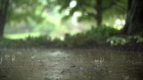 Amazing close up satisfying steady slow motion shot of downpour rain drops falling on pavement asphalt concrete road. Fascinating close up steady satisfying slow stock footage