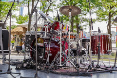 Amazing closeup detailed view of drum kit setup standing on concert outdoor stage Stock Photography