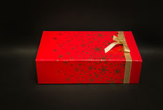 Amazing closeup view of Christmas Holiday gift red box Stock Image
