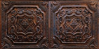 Amazing closeup view of interior ceiling decorative dark brown tiles royalty free stock photography