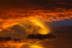 Amazing clouds. Clouds during sunset just after rainfall,in wonderful formation in sky Stock Images