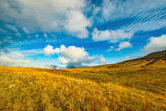 Amazing cloudscape above the mountain meadow. Royalty Free Stock Images