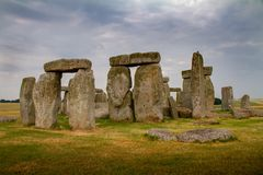 Amazing cloudy close-up of Stonehenge in Wiltshire, England. U.K royalty free stock photography