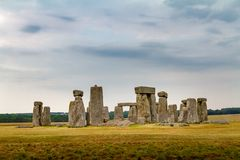 Amazing cloudy and moody view of Stonehenge in Wiltshire England,. U.K royalty free stock photos