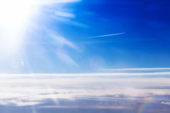 Amazing cloudy sky view. From airplane window Royalty Free Stock Image