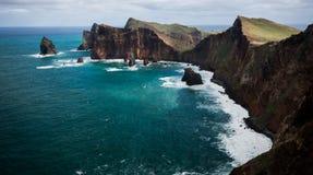 Amazing coast of Madeira. Ponta do Rosto, Madeira. Beautiful rugged part of the Madeira coast line Stock Images