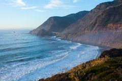 California Route 1,  United States. Amazing coastline of California`s Route 1 with beautiful sky and wavy ocean. California, United States Stock Photos